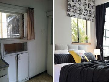 המטבח הישן (משמאל) הפך לחדר השינה (צילום: אביב קורט)