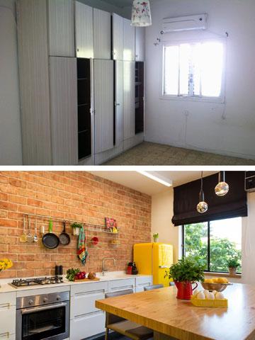 חדר השינה (למעלה) הפך למטבח (צילום: אביב קורט)