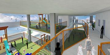 ההצעה של ליואי-דבוריינסקי לקומפלקס חינוך רב-קומתי בגבעתיים. האם העירייה תעז? (תכנון: ליואי דבוריינסקי אדריכלים)