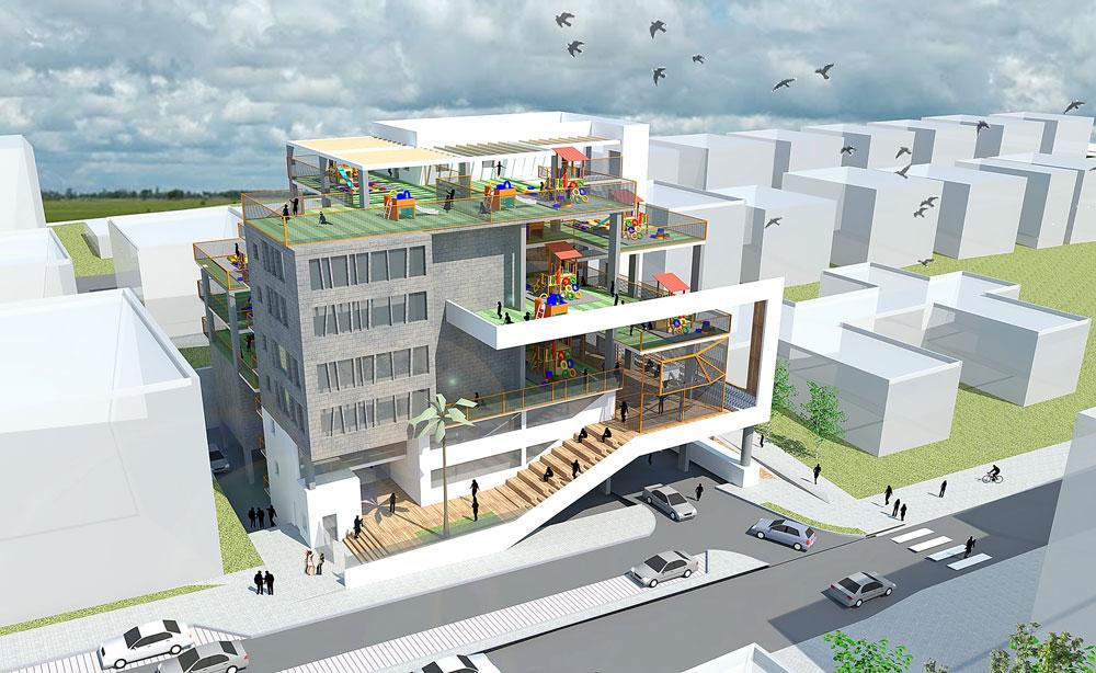 האם זהו השלב הבא? הצעה לקומפלקס חינוכי ברחוב גולומב בגבעתיים, על פני 7 קומות. המתחם ישמש את השכונה כולה ולא רק את התלמידים (תכנון: ליואי דבוריינסקי אדריכלים)