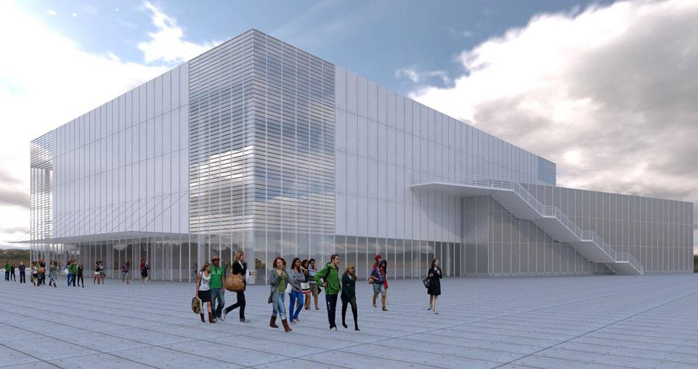 האולם כבר בולט לעיניהם של הנוסעים באיילון צפון, והוא נבנה במקום שבו שכן הדרייב-אין ליד גני התערוכה והלונה פארק (תכנון: גולדשמידט ארדיטי בן נעים אדריכלים)