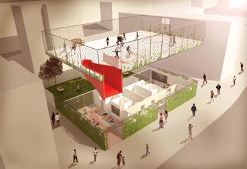 הרעיון: על הגג של הגן ברחוב הדקל בבת ים יהיו פעילויות ציבוריות. זה לא קורה בינתיים (הדמיה: HQ Architects)