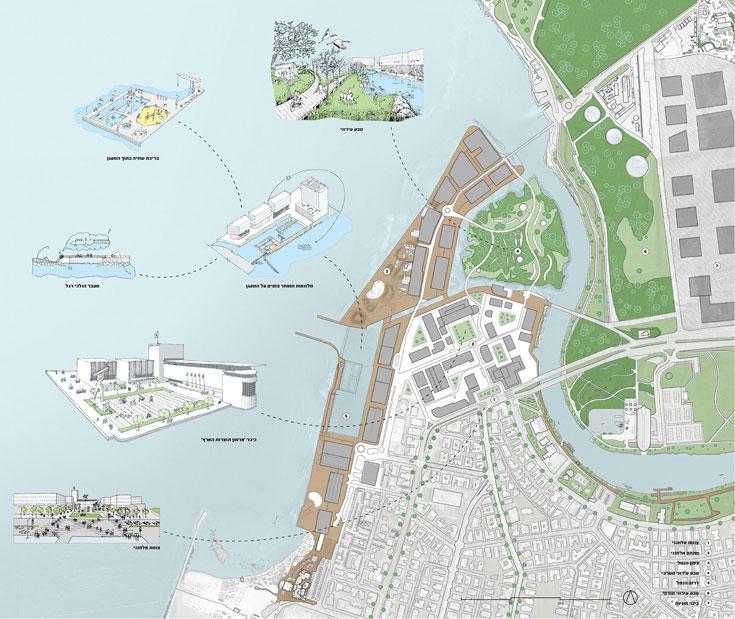 """ההצעה של החדר אדריכלים. תפיסת התכנון הייתה לעשות כמה שפחות, """"כי כל יישום של תוכנית חדשה רק יוסיף עוד שכבה לאלה הרבות שקיימות. הנמל לא צריך עוד שכבה"""" (תכנית: החדר אדריכלים)"""