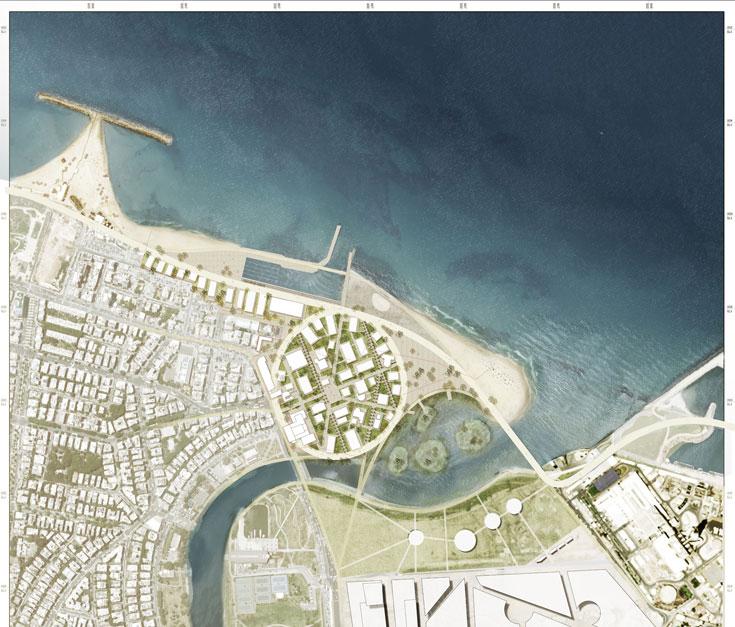 """ההצעה של עבד אל-קאדר, אפרת-קובלסקי וז""""ק רייכר. """"נדמה שעוד אין מקום בגוש דן עם פוטנציאל להפגיש בין אינטנסיביות ארכיטקטונית לחוויה א-פורמלית בשולי העיר"""", כתבו האדריכלים (תכנון: סנאן עבדאלקאדר אדריכלים, בשיתוף אפרת-קובלסקי וז''ק רייכר )"""