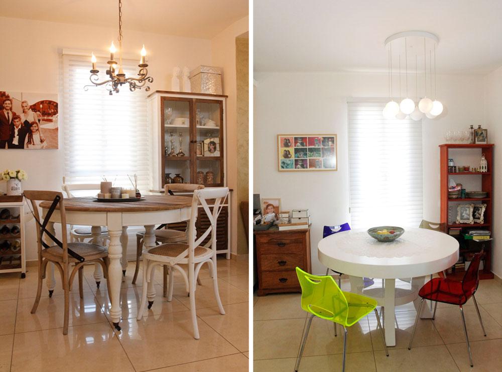 מפלסטיק צבעוני - לגווני עץ ולבן. פינת האוכל לפני ואחרי השינוי (צילום: יוני רייף )