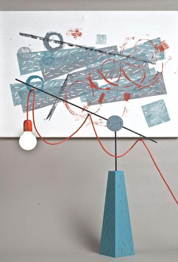 העבודה של איתי אהלי. תיעוד של יצירת המנורה (צילום: אסף ורן ארדה)
