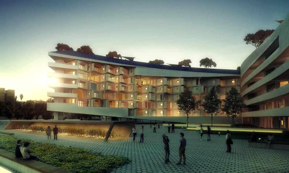 השלב העתידי של הפרויקט הוא בניין שלם שמבוסס על היחידות המודולריות, שמרכיבות את מרכז המבקרים. האם זה יהיה בקרית גת? (באדיבות תחרות 'לגור ירוק בישראל' של קק''ל בשיתוף המועצה הישראלית לבניה ירוקה)