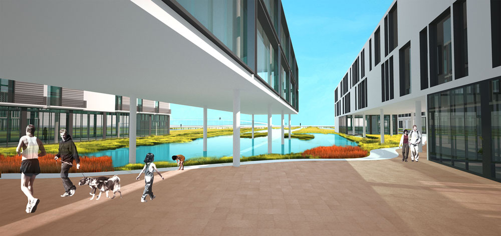 """האדריכל מיכאל וולמה מסביר שהשאיפה היא לטשטש בין הנוף הטבעי והעירוני. """"צריך להבין את האיזון בין מה שבונים למה שלא בונים"""", הוא אומר, """"וכך להעלים את הגבולות בין שני סוגי הנוף"""" (הדמיה: רוזנפלד ארנס אדריכלים בע''מ בשיתוף אדריכל מיכאל וולמה ואן דר מולן)"""
