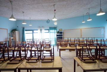 צבעי הקיר וכיסוי התקרה מבהירים: זהו בית ספר אנתרופוסופי (צילום: דור נבו)
