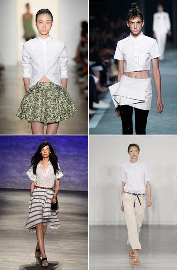 פריט החובה לקיץ הבא: חולצה לבנה. בתצוגות של פיטר סום, מארק ביי מארק ג'ייקובס, Suno ורבקה מינקוף (צילום: gettyimages)
