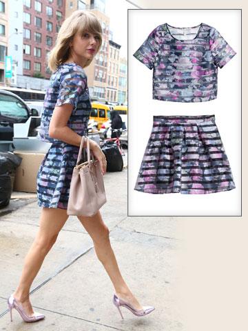 טיילור סוויפט, מלכת הטוטאל לוק, באחד של H&M (חולצה: 119 שקל, חצאית: 149 שקל) (צילום: splashnews, הנס מוריץ)