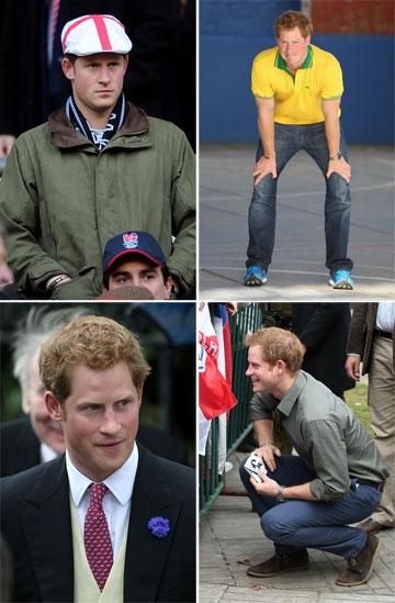 אוהב אביזרים. הנסיך הארי עם כובע, נעלי ספורט צבעוניות, נעלי זמש היפסטריות ופרח בדש (צילום: gettyimages)