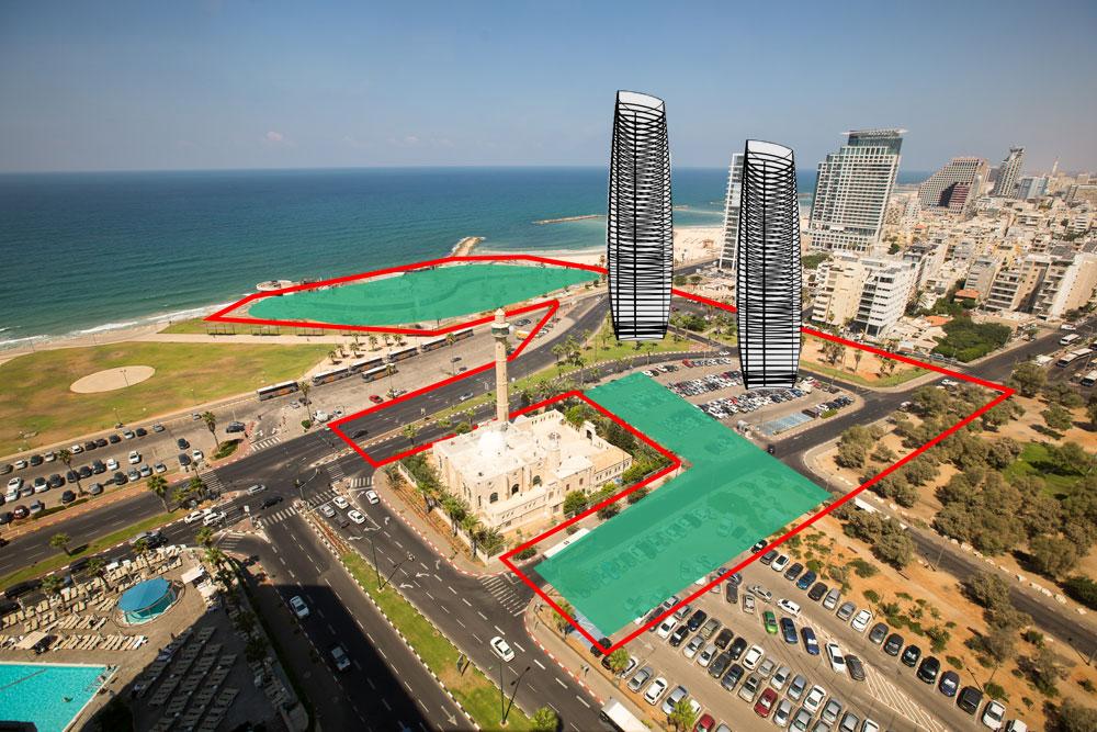 גבולות התוכנית מצוירים באדום. השטחים הירוקים אמורים להיות פתוחים לציבור. המגדלים נשתלים במרכז. מהו היטל ההשבחה שתקבל העירייה? הנתון הזה נשאר חשאי (צילום: דור נבו)