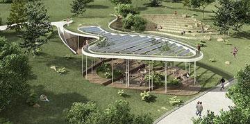 """הדמיה: בית הקפה המתוכנן בגן סאקר. """"לא מביאים אוכל מהבית"""" (הדמיה: יניב פרדו אדריכלים)"""