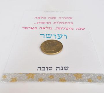 מטבע כסף (או שוקולד) לשנת עושר (צילום: אביבית ירקוני כהן  )