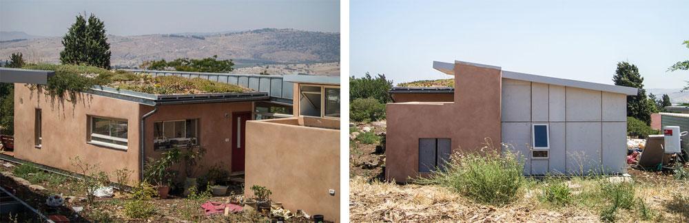 הבית של משפחת ניר-סוסק משתי זוויות נוספות. ניתן לראות כאן שעל גג האזור שנבנה בבאלות מגדלת המשפחה צמחים סוקולנטיים (אוגרי מים) שמסייעים לבידוד אקלימי (צילום: איתי סיקולסקי)
