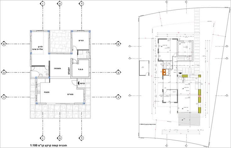 """תוכניות הבנייה של בית משפחת ניר-סוסק (מימין) ושל משפחת טל-רפופורט (משמאל). הבתים קטנים יחסית, לכל היותר 140-150 מ""""ר, וברובם יש חלל מרכזי גדול, חדר הורים וחדר ילדים  (תכנון: ארנון אדריכלים)"""