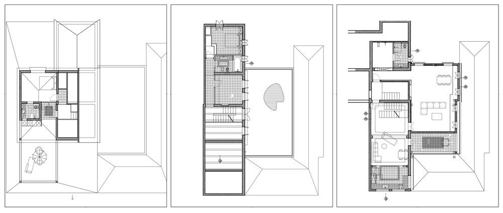 תוכניות הבית. מימין: הקומה הראשונה, ובה סלון, מטבח, מרפסת ושירותים; הקומה המושכרת לשותפים, ובה שני חדרי שינה ושירותים; והמפלס העליון, ובו חדר שינה, שירותים ומרפסת (באדיבות אדריכל אודי גרדי)