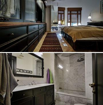 חדר השינה ביחידת ההורים, עם מקלחת, שירותים צמודים ומרפסת הפונה לרחוב (צילום: איתי סיקולסקי)