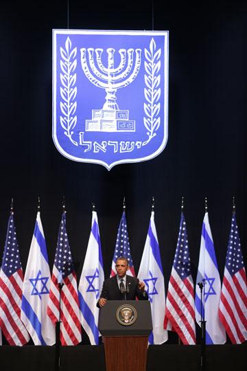 בנייני האומה, מארס 2013: ברק אובמה נואם בפני סטודנטים ישראלים (צילום: אלכס קולומויסקי)