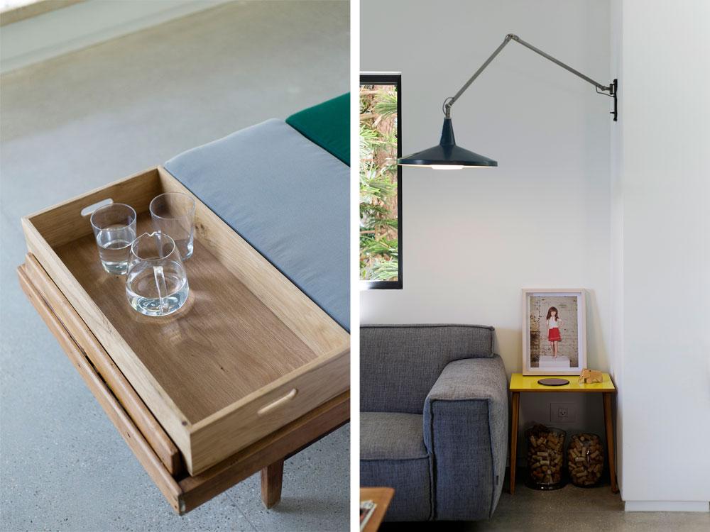 מימין חלק מפינת הישיבה בסלון, שבה שולבו רהיטי מעצבים עם פריטי וינטג'. משמאל מגש העץ המחובר למיטת-היום במרפסת. נוחות מרבית (צילום: שירן כרמל)