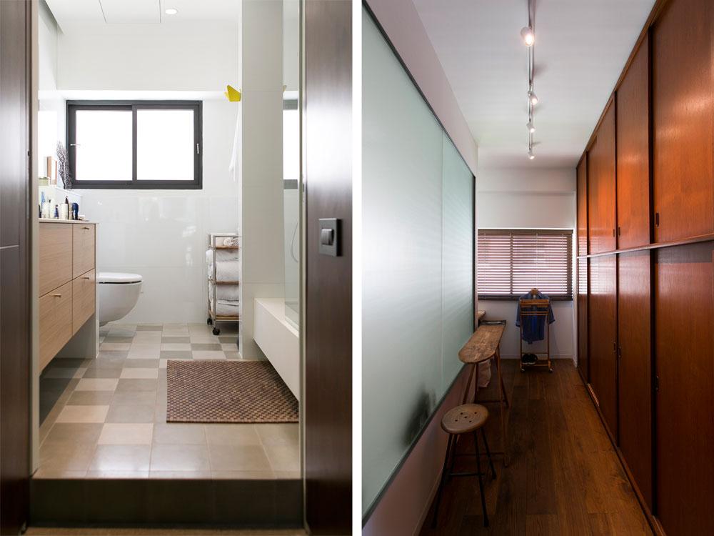 הארון הישן נשאר על מקומו, ויוצר חדר ארונות בין חדר השינה לחדר הרחצה. משמאל: צבעי האריחים מתבהרים ככל שמתקרבים לחלון, והאמבטיה - גדולה דיה לשניים - שקועה ברצפה (צילום: שירן כרמל)
