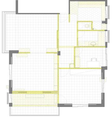 תוכנית הדירה הישנה. הקירות המסומנים בצהוב נהרסו (תכנון: אלברט אסקולה)