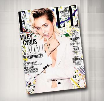 מיילי סיירוס על שער גיליון אוקטובר 2015 של מגזין Elle בריטניה (צילום: מאט אירווין)