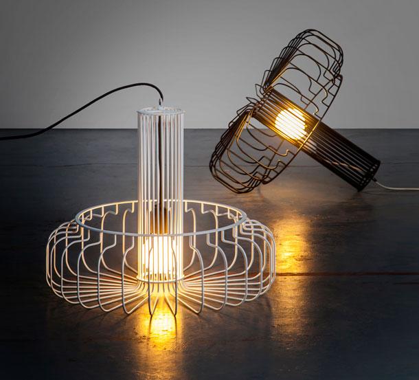 מנורות כלוב עם נורת פחם של עודד ספיר (באדיבות Studio Beam, צילום : יואב גורין)