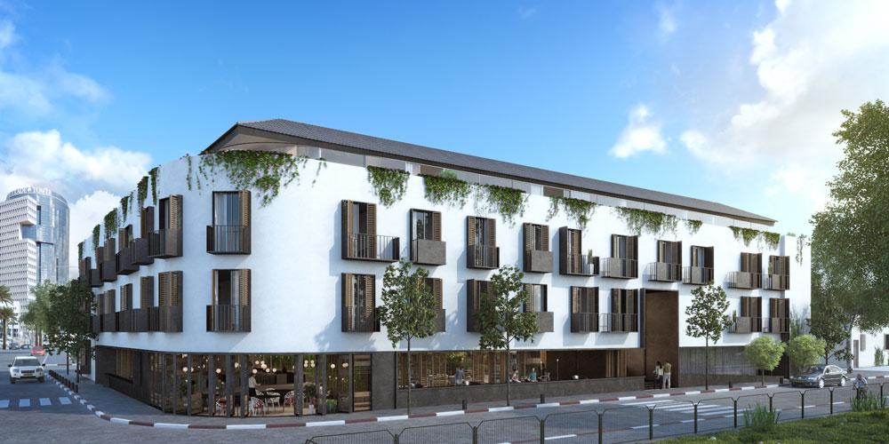 בגובה של 3.5 קומות ועל פני כ-6,300 מ''ר, המלון יוקם על זוג חלקות שאוחדו לכ-1.7 דונם – פי שלושה ויותר משטח המגרשים האופייני לנווה צדק, ובכך הוא חוטא למרקם ההיסטורי של השכונה הראשונה בעיר (הדמיה: סטודיו בונסאי – אורי קיטה)
