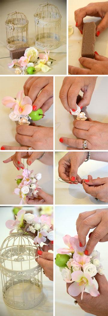 הכנת כלוב פרחים (צילום: מאיה לוי)
