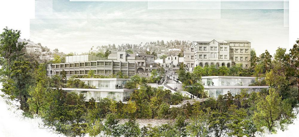 הדמיית ההצעה הזוכה, בית ההבראה משמאל. 15 אלף מ''ר בנויים יתוספו למתחם ההיסטורי, שאינו גדול. ''כל אחד מהמבנים יהיה מוגדר באופן עצמאי, וחמש החזיתות יהיו שלמות ככל שיתאפשר'', אומר האדריכל ליאור ויתקון (תכנון: ציונוב- ויתקון אדריכלים)