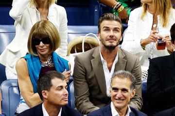 מבריזים משבוע האופנה. דיוויד בקהאם ואנה ווינטור בתחרות הטניס הפתוחה של ארצות הברית (צילום: gettyimages)