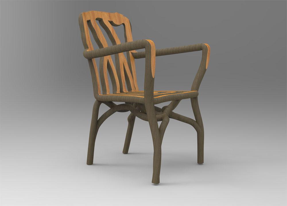 כיסא עץ, במלוא מובן המילה: מאחר שצמח סביב תבנית, כולו יחידה אחת, ללא חיתוכים וללא חיבורים. יוזם הרעיון מאמין שרהיט כזה ישרוד מאות שנים (באדיבות Gavin Munro)