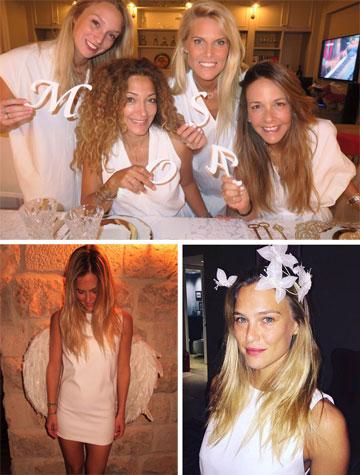 למסיבת הרווקות: שמלות בסימן פרפרים לבנים שעיצבה רימה רומנו וקשת לשיער בעיצובה של תמי בר לב