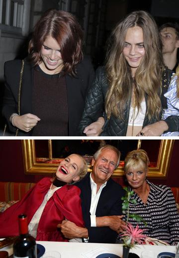 משפחת דלווין מבלה במסיבה של מיו מיו ומגזין Love. למעלה: קארה דלווין והנסיכה יוג'יני, למטה: פנדורה, צ'רלס ופופי דלווין (צילום: rex/asap creative)