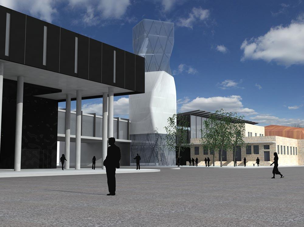 זהו פרויקט שהעירייה הזמינה והוא מוקפא בהיעדר תקציב: מרכז אור לאמנויות (הדמיה: אדר' אמנון רכטר ואדר' נתי רותם)