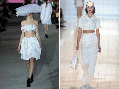 מימין: חולצות בטן בתצוגות האופנה של רושה וג'ון גליאנו (צילום: gettyimages)