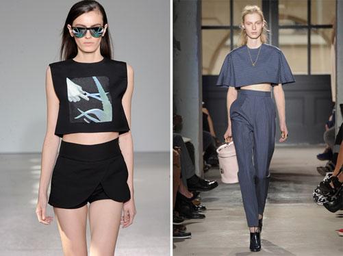 מימין: חולצות בטן בתצוגות אביב-קיץ 2013 של בלנסיאגה וקוסטום נשיונל (צילום: gettyimages)