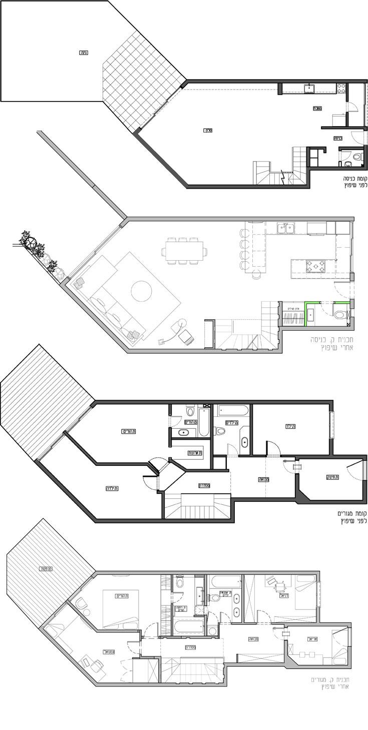 תוכניות השיפוץ של קומות הכניסה וחדרי השינה, לפני ואחרי (באדיבות ליאת הדס)