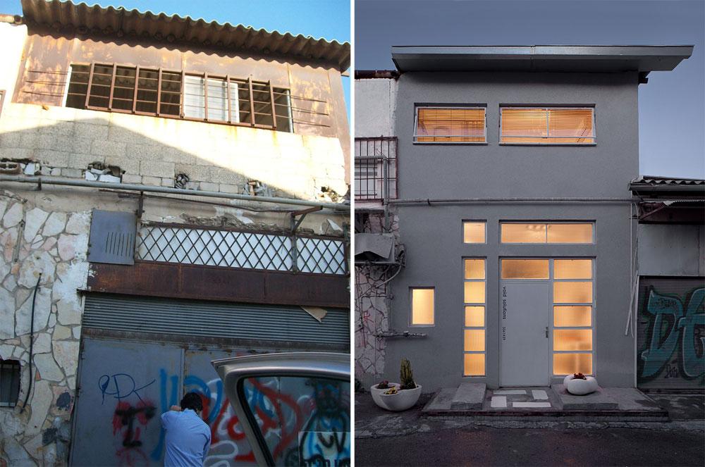 משמאל: הבית ''לפני''. במשך שנים היה בו מועדון הבינגו של שכונת בתי המלאכה. משמאל: הבית לאחר השיפוץ. משני צדיה של הדלת עציצים מ''סטודיו קרפט'' הסמוך, שמתמחה בבטון, ועל הקרקע ''מחצלת'' בטון, שתוכננה בהשראה יפנית ומעוטרת באריחים לבנים (''קרמיקה קריסטל'') (צילום: VOID SOLUTIONS, מתן מיטווך )