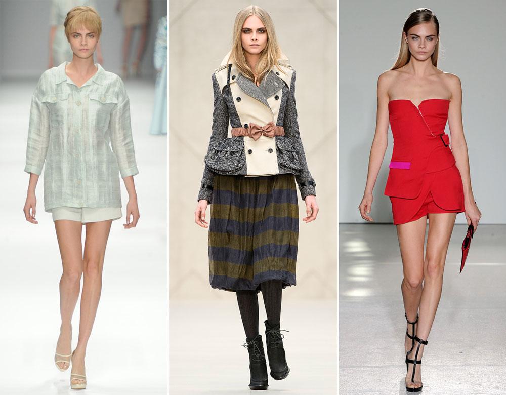 קארה דלווין. השתתפה ב-53 תצוגות אופנה לאביב-קיץ 2013 ודילגה בין ניו יורק, לונדון, מילאנו ופריז (צילום: gettyimages)