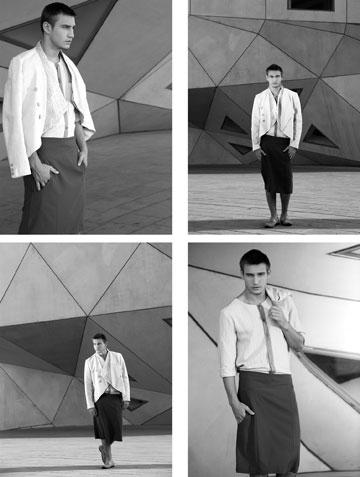 חצאית לגברים של אפרון יפעה בשנקר (צילום: יגאל עמר ל The Practice)