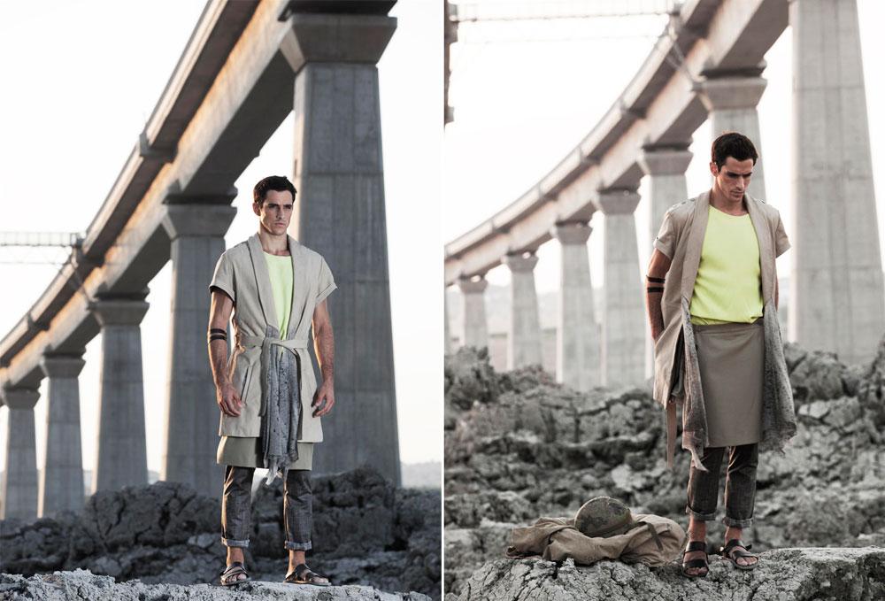 פרויקט החצאיות לגברים של הסטודנט נתנאל המאווי בשנקר. ''הדוגמנים שלבשו את החצאיות הרגישו נינוחים והצהירו כי זה פרקטי ונוח'', אומר מנחה הקורס אילן בז'ה (צילום: יגאל עמר ל The Practice)