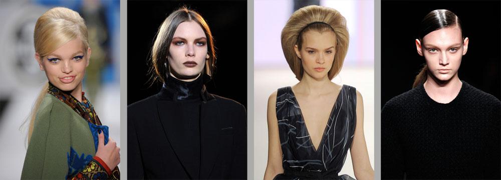 איך נראה בחורף הקרוב? מימין לשמאל: קוקו מהודק (קלווין קליין), שיער מנופח (קרולינה הררה), עיניים מעושנות (ג'יבנשי) ואייליינר גיאומטרי (אנה סואי) (צילום: gettyimages)