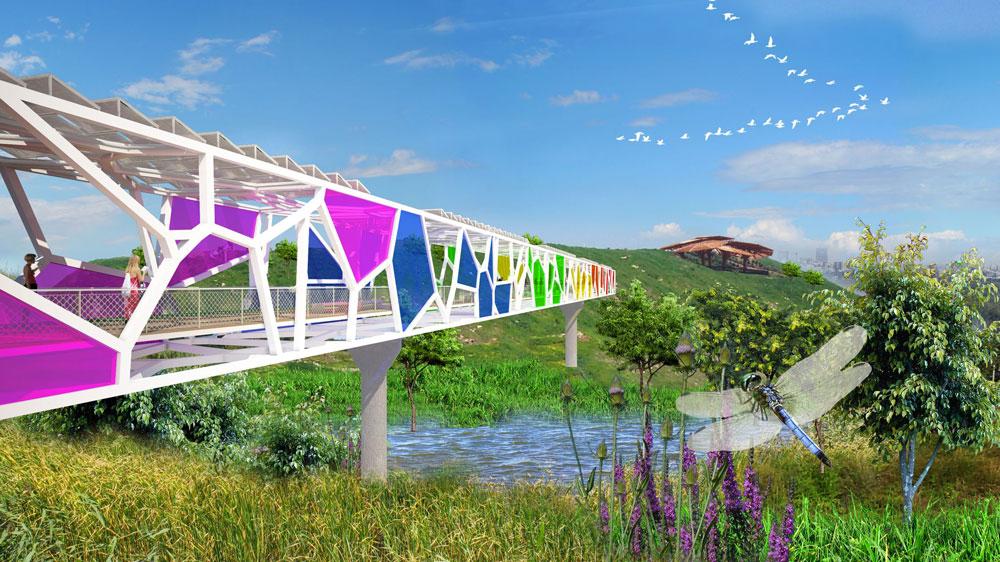 אוהבים צבע. הצעה של OGE להקמת גשר בפארק שרון (חיריה), שזכה בציון לשבח (הדמיה: oge אדריכלים)