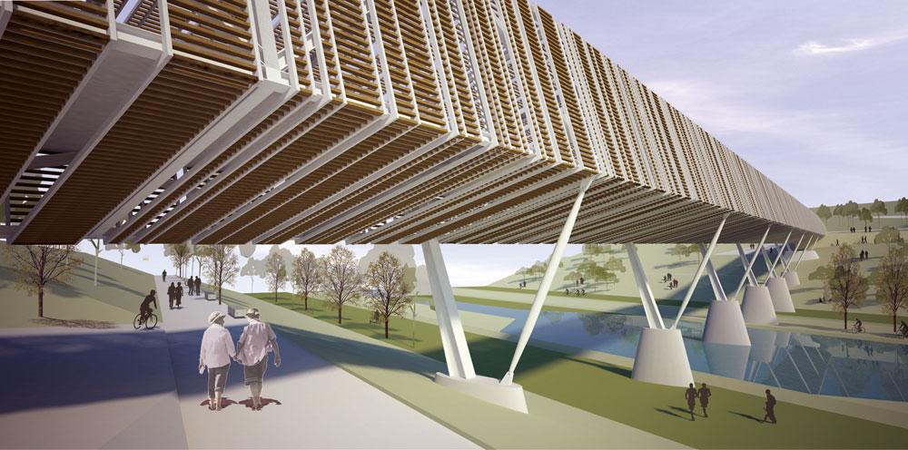 ההצעה של מלכא אדריכלים בשיתוף אמסטרדם בן נון אדריכלים. זכתה לציון לשבח (הדמיה: מלכא אדריכלים)