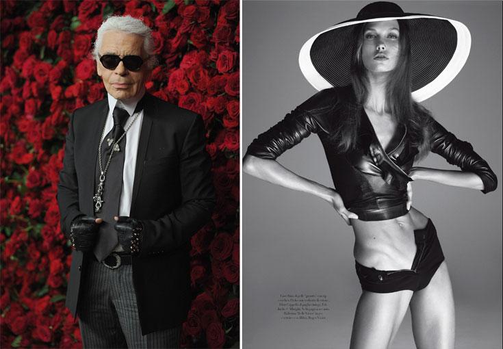הדוגמנית קרלי קלוס בווג איטליה (מימין) וקרל לגרפלד. ''הדוגמניות בתעשיית האופנה רזות, אבל לא כל כך רזות'' (צילום: gettyimages)