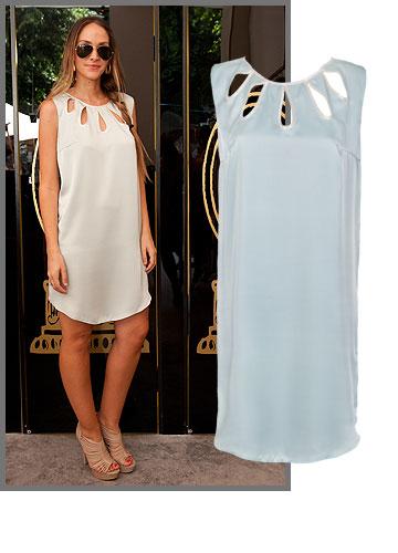 איילה רשף בשמלה מנימליסטית עם טוויסט שובב של חיתוכים מחמיאים מבית היוצרת יפית אוחיון (799 שקל) (צילום: תומר סבג, נועם יוסף)
