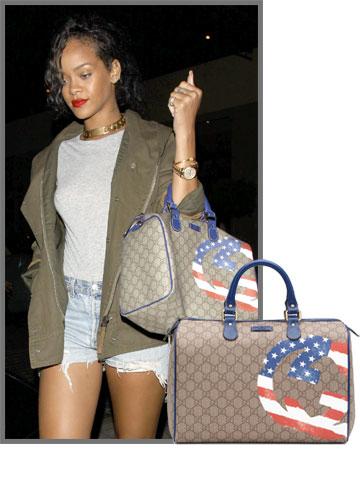 ריהאנה שיקית וגם פוליטית עם תיק של גוצ'י מקולקציה שעוצבה במיוחד למפעל התרומה של יוניצף (4,000 שקל)